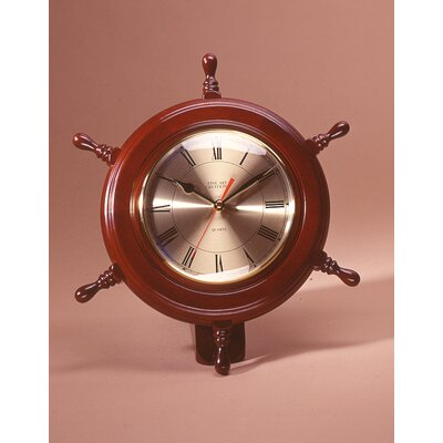 Ship Wheel WallDesk Clock Color Mahogany