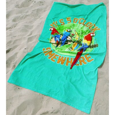 Rockin Parrots Peacock Green Beach Towel Color: Green
