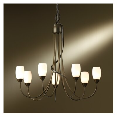 Flora 7-Light Candle-Style Chandelier Finish: Burnished Steel, Shade Color: Stone