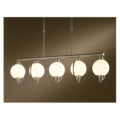 Pluto 5-Light Kitchen Island Pendant Finish: Mahogany, Shade Color: Opal, Stem Length: Long