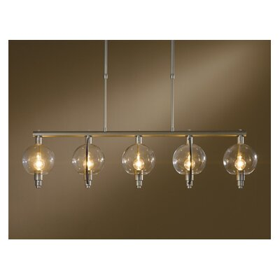 Pluto 5-Light Kitchen Island Pendant Finish: Mahogany, Shade Color: Clear, Stem Length: Short