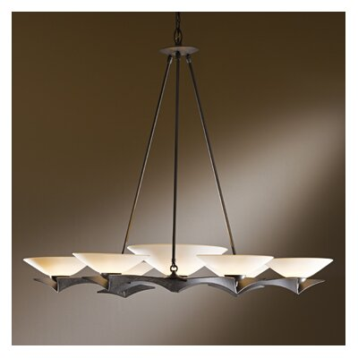 Moreau 7-Light Shaded Chandelier Shade Color: Opal, Finish: Natural Iron