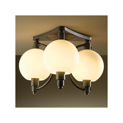 Pluto 3-Light Semi Flush Mount Finish: Mahogany, Shade Color: Opal