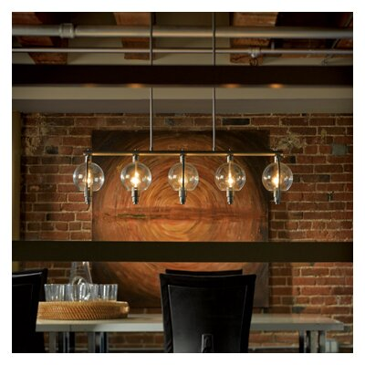 Pluto 5-Light Kitchen Island Pendant Shade Color: Clear, Stem Length: Long, Finish: Mahogany