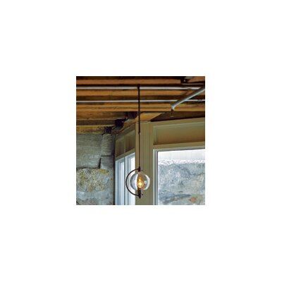 Pluto 1-Light Globe Pendant Finish: Burnished Steel, Shade Color: Clear, Stem Length: Short