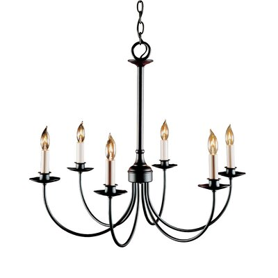 6-Light Candle-Style Chandelier Finish: Natural lron