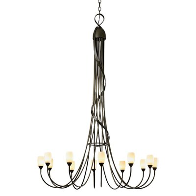 Flora 12-Light Candle-Style Chandelier Finish: Dark Smoke, Shade Color: Opal