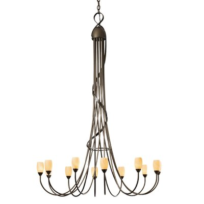Flora 12-Light Shaded Chandelier Finish: Dark Smoke, Shade Color: Stone