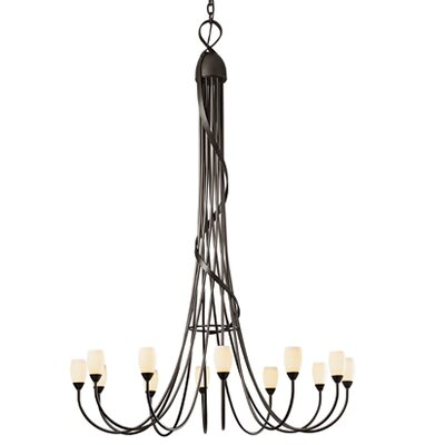 Flora 12-Light Shaded Chandelier Shade Color: Opal, Finish: Mahogany