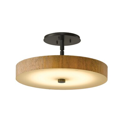 Disq 1-Light LED Semi-Flush Mount Shade Color: Cork, Finish: Burnished Steel