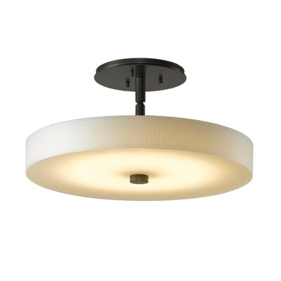 Disq 1-Light LED Semi-Flush Mount Shade Color: Spun Frost, Finish: Dark Smoke