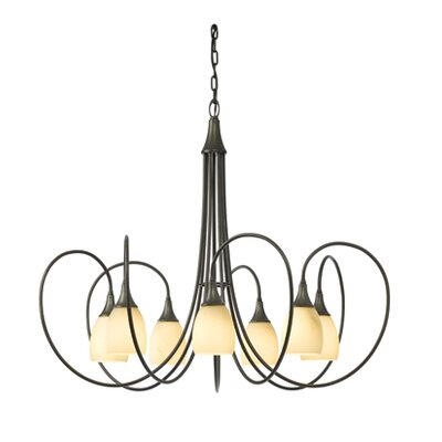 Picoh 7-Light Shaded Chandelier Finish: Dark Smoke, Shade Color: Stone