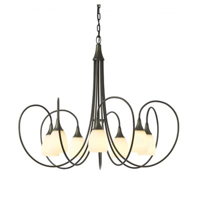 Picoh 7-Light Shaded Chandelier Shade Color: Opal, Finish: Burnished Steel