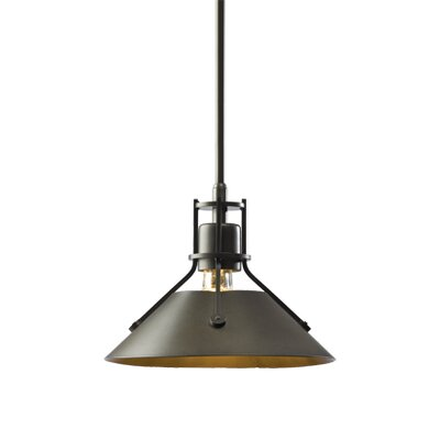 Henry 1 Light Mini Pendant Size: 52.7 H x 9.2 W, Finish: Black