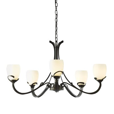 Aubrey 5-Light Candle-Style Chandelier Finish: Burnished Steel, Shade Color: Opal