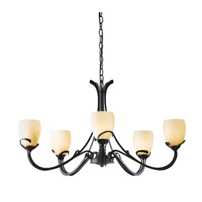 Aubrey 5-Light Candle-Style Chandelier Finish: Dark Smoke, Shade Color: Stone