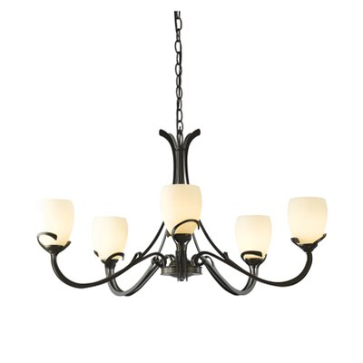 Aubrey 5-Light Candle-Style Chandelier Finish: Dark Smoke, Shade Color: Pearl