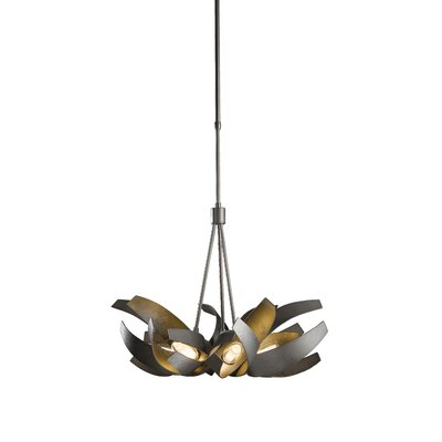 Corona 6-Light Geometric Pendant Finish: Translucent Burnished Steel, Stem Length: 47.9 to 69.6