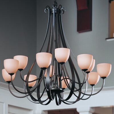 12-Light Shaded Chandelier Finish: Black, Shade Color: Stone