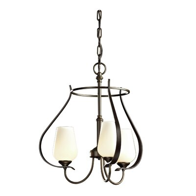 Flora 3-Light Shaded Chandelier Glass Type: Seeded Clear Glass, Finish: Natural Iron