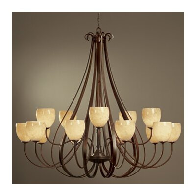 15-Light Candle-Style Chandelier Finish: Natural lron, Shade Color: Opal