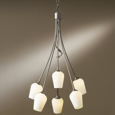 Flora 6-Light Shaded Chandelier Glass Type: Stone Glass, Finish: Natural Iron