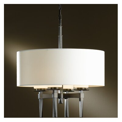 Beacon Hall 4-Light Drum Chandelier Shade: Natural Anna, Finish: Translucent Burnished Steel