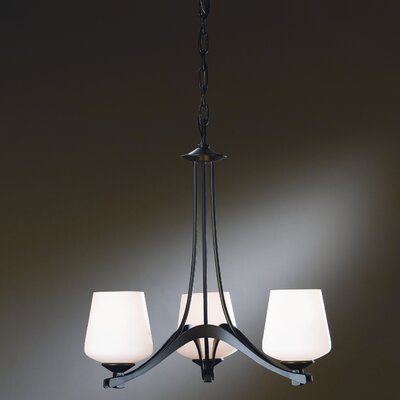 Ribbon 3 Light Chandelier Finish: Black, Shade Color: Pearl, Bulb Type: (3) 100W A-19 medium base bulbs