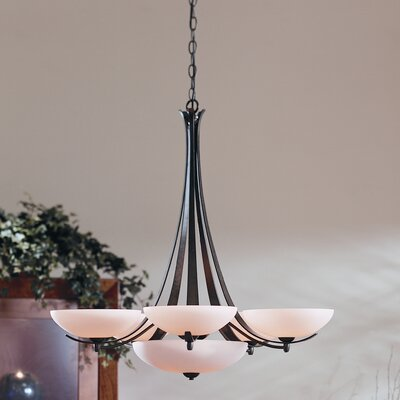 Aegis 6-Light Shaded Chandelier Finish: Brushed Steel, Shade Color: Opal