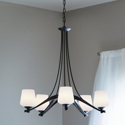 5-Light Ribbon Shaded Chandelier Finish: Mahogany, Shade Color: Pearl, Bulb Type: (5) 100W A-19 fluorescent bulbs