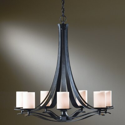 Berceau 7-Light Drum Chandelier Bulb Type: (7) 60W candelabra base bulbs, Shade Color: Opal, Finish: Natural lron