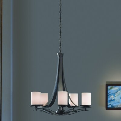 Berceau 5-Light Drum Chandelier Finish: Black, Shade Color: Opal, Bulb Type: (5) 60W fluorescent base bulbs