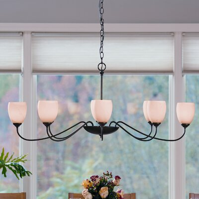8-Light Candle-Style Chandelier Finish: Brushed Steel, Shade Color: Opal