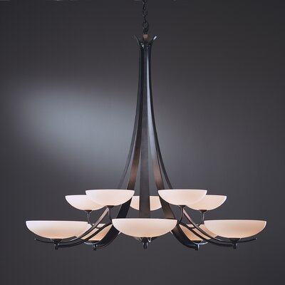 Aegis 10-Light Candle-Style Chandelier Finish: Brushed Steel, Shade Color: Opal