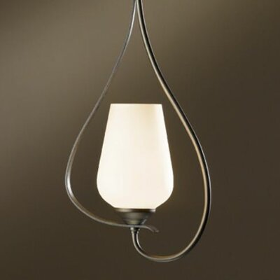 Flora 1-Light Pendant Glass: Seeded Clear, Finish: Opaque Natural Iron
