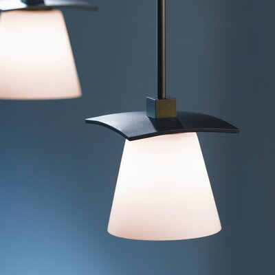 Wren 1-Light Pendant Glass: Stone, Finish: Opaque Black