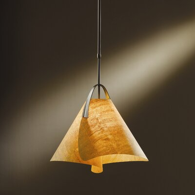 Mobius 1-Light Pendant Shade: Spun Amber, Finish: Opaque Natural Iron