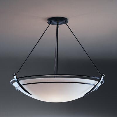 Presidio 3-Light Inverted Pendant Finish: Black, Shade Color: Opal