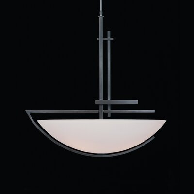 Ondrian 3-Light Bowl Pendant Finish: Brushed Steel, Shade Color: Opal, Stem Length: 44 to 59