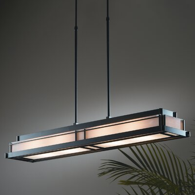 Steppe Large 4-Light Art Glass Pendant Finish: Black, Shade Color: Ivory Art, Stem Length: 26 to 41.4