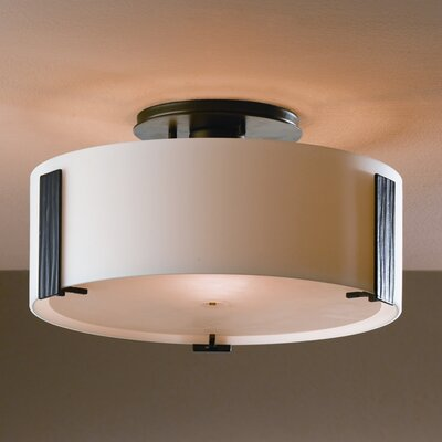 Impressions 1-Light Semi Flush Mount Finish: Brushed Steel, Shade Color: Pearl, Bulb Type: (1) 75W G-9 halogen bulb