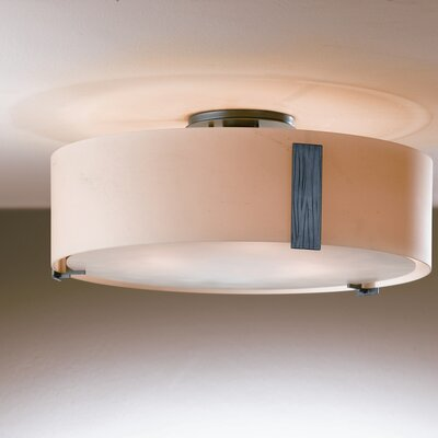 Impressions 3-Light Semi Flush Mount Finish: Natural lron, Shade Color: Opal, Bulb Type: (3) 100W A-19 medium base bulbs