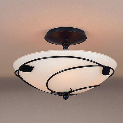 Leaf Medium 2-Light Semi Flush Mount Finish: Brushed Steel, Shade Color: Opal