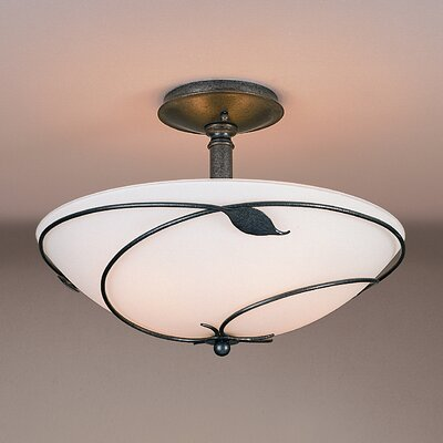 Leaf Large 3-Light Semi Flush Mount Finish: Brushed Steel, Shade Color: Opal