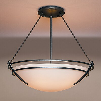 Presidio Large 3-Light Semi Flush Mount Finish: Natural lron, Shade Color: Sand, Bulb Type: (3) 100W fluorescent bulbs