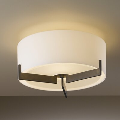 Axis Small 1-Light Flush Mount Finish: Brushed Steel, Shade Color: Stone