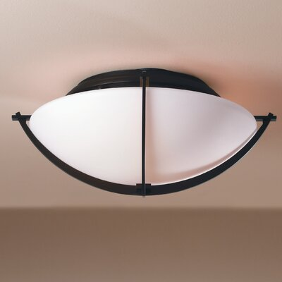 Compass 2-Light Flush Mount Finish: Brushed Steel, Shade Color: Opal