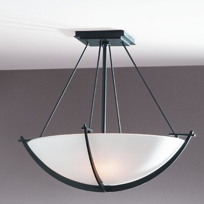 Compass Small 3-Light Semi Flush Mount Finish: Brushed Steel, Shade Color: Opal
