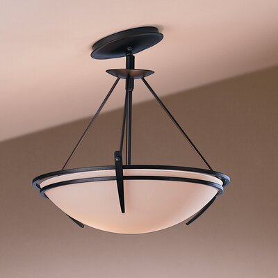 Presidio Tryne 2-Light Semi Flush Mount Finish: Brushed Steel, Shade Color: Opal