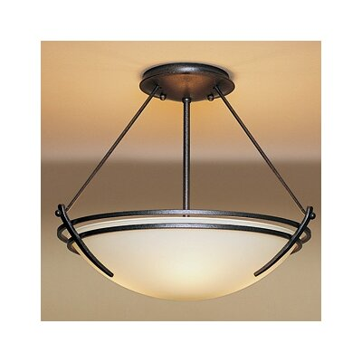 Presidio Medium 2-Light Semi Flush Mount Finish: Brushed Steel, Shade Color: Sand, Bulb Type: (2) 100W fluorescent bulbs